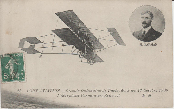 French Postcard - Farman in Flight 1909
