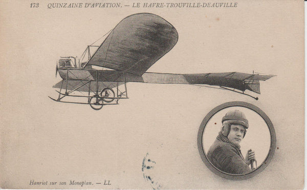 French Postcard - Hanriot in flight circa 1910