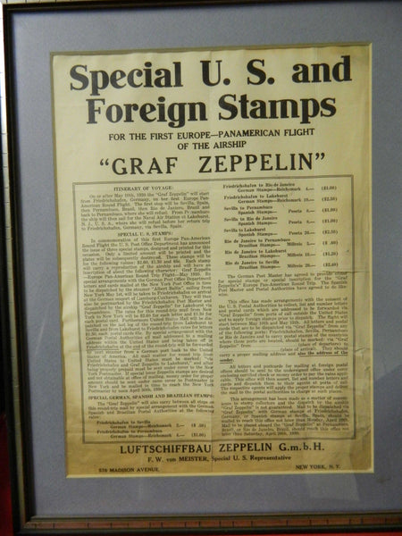 Graf Zeppelin 1930 Broadside - Stamps for the First Pan-American Flight