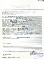 Alexander de Seversky's Application to American Fighter Aces Assoc.