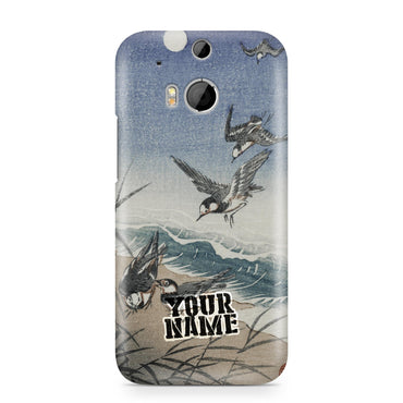 Blue Sandpiper Beach Sky Moon Painting Japanese Art Chinese Phone Cases Cover