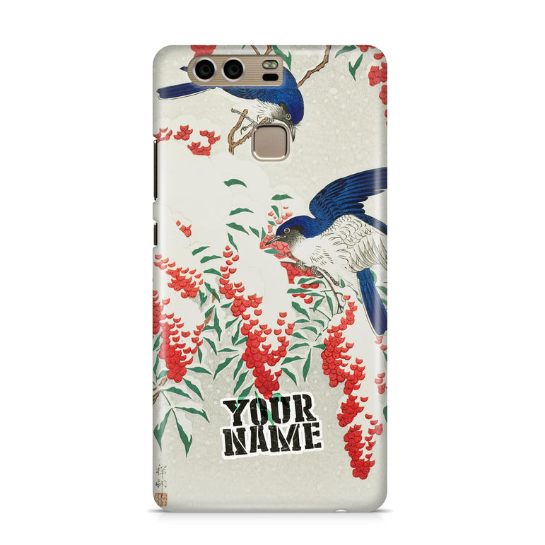 Blue Bird Twin Twist Red Berry Japanese Art Phone Cases Cover