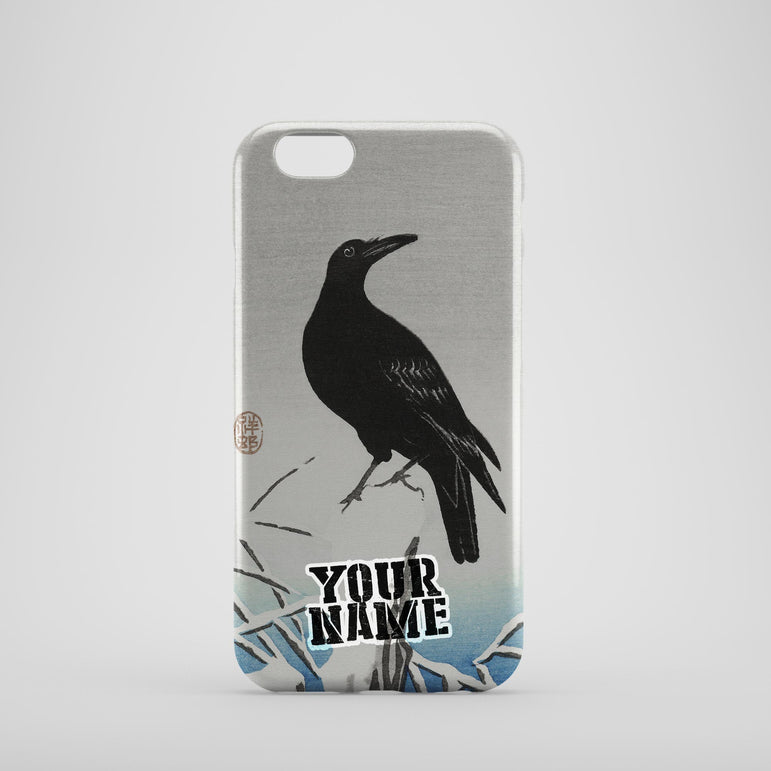 Dark Black Crow Japanese Paint Arts Work Wall Phone Cases Cover