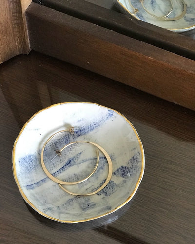 Blue Marbled Ring Dish