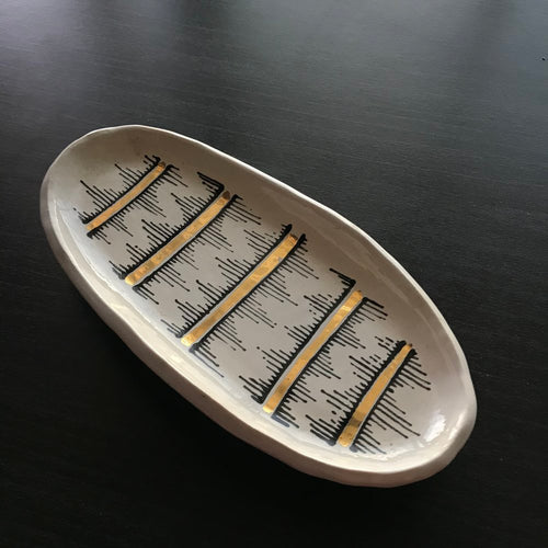 White Jagged Edge Sage Tray/ Jewelry Tray