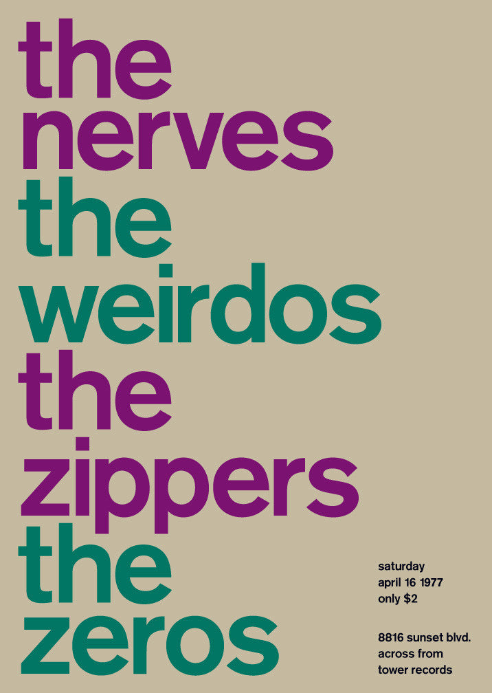 nerves, weirdos, zippers, zeros, 1977
