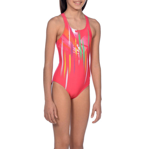 Girls Revelation Junior V Back One Piece L Maxlife Swimsuit Freak Rose Yellow Star - clickswim.co.nz