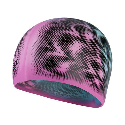 Speedo Slogan Print Cap Pink/Blue Junior