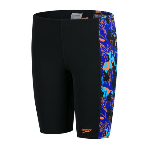 Speedo Junior Boys Swimwear Allover Panel Jammer Black/Blue - clickswim.co.nz