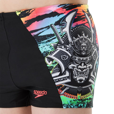 Speedo Digital Panel Aqua Short Boys Neon Samurai Black/Brtzst/Psyred - clickswim.co.nz