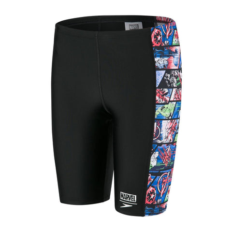 Speedo Panel Jammer Boys Avengers Black/Neon Blue - clickswim.co.nz