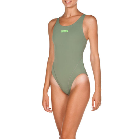 Womens Solid Swim  Tech High Max Life Swimsuit Army Shiny Green - clickswim.co.nz