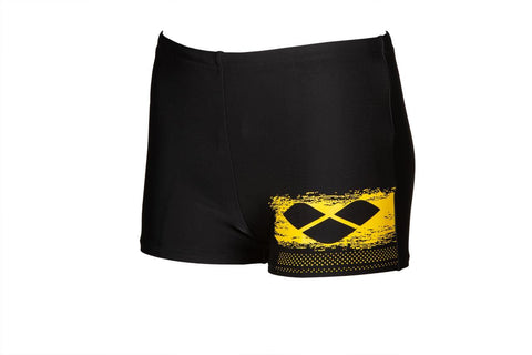 Boys Scratchy Junior Short Maxlife Black Yellow Star - clickswim.co.nz