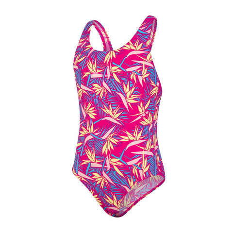 Speedo Junglepetal Allover Splashback Girls Electric Pink / Citron / Powder Blush / Turquoise