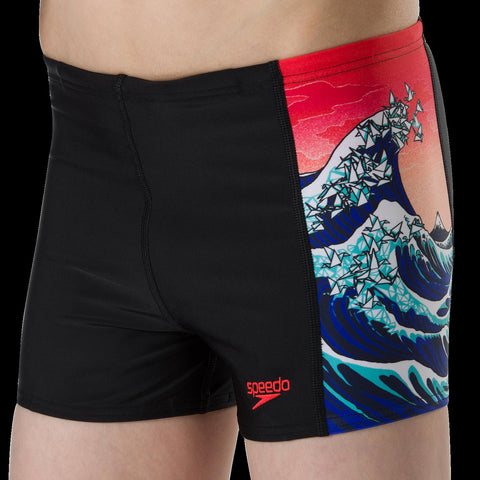 Speedo Sports Aqua Short Boys Origmi Wave Black/Navy/Lava Red/White - clickswim.co.nz