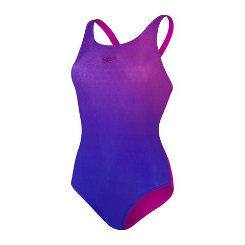 Speedo Placement Medalist Womens Diva/Violet/Fluo Yellow