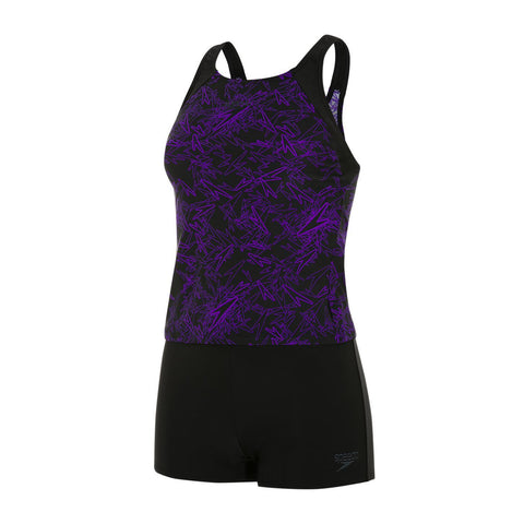 Speedo Boom Allover Tankini Womens Boom Black/Royal Purple - clickswim.co.nz
