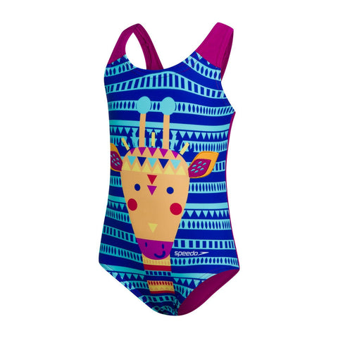 Speedo Junglegina Digital Applique Swimsuit Infant Girls Blue/Mango/Golden Glow