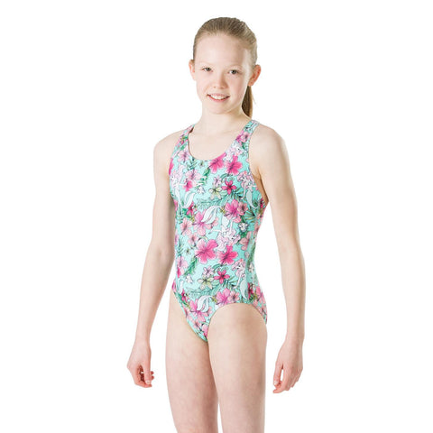 Speedo Splashback Girls Little mermaid floral - clickswim.co.nz