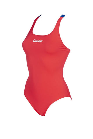 Arena Womens Solid Swim Pro Swimsuit Fluo Red Neon Blue