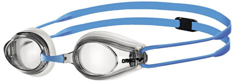 Arena Junior Racing Goggles Tracks Clear/Clear/Light Blue - clickswim.co.nz