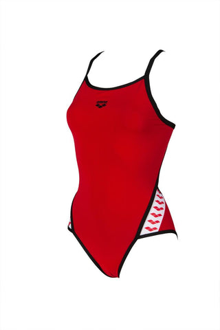 Womens Team  Stripe Super Fly Back One Piece Max Life Swimsuit Red Black - clickswim.co.nz