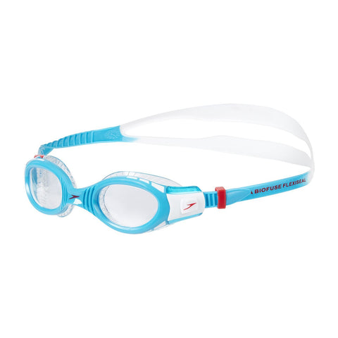 Speedo Junior Unisex Goggles Futura Biofuse Flexiseal Blue/Red/White - clickswim.co.nz
