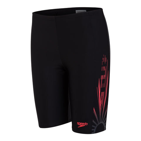 Speedo Logo Splice Jammer Boys Echo Shater Black/Red/Oxid grey - clickswim.co.nz