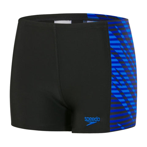 Speedo Boys Endurance 10 Allover Panel Aquashort Black / Chroma Blue - clickswim.co.nz