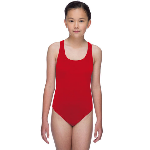 Maru Solid Pacer Open Back Girls Swimsuit Red - clickswim.co.nz