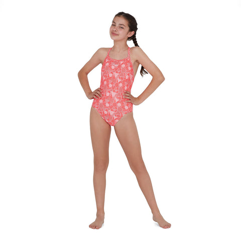 Speedo Dazzlegeo Allover X Back 1 Piece Girls Pyscho Red/Powder Blush