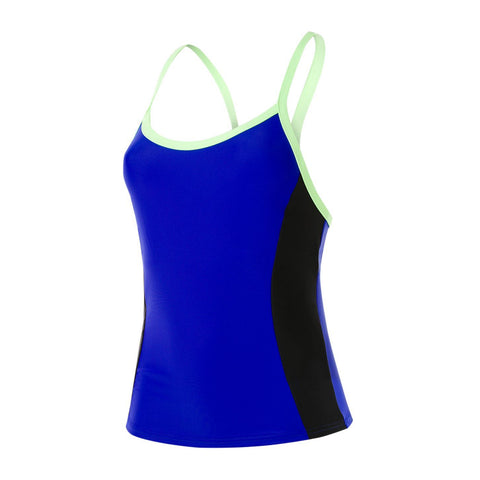 Speedo Womens Endurance 10 Hydractive Tankini Top Chroma Blue / Black / Bright Zest - clickswim.co.nz