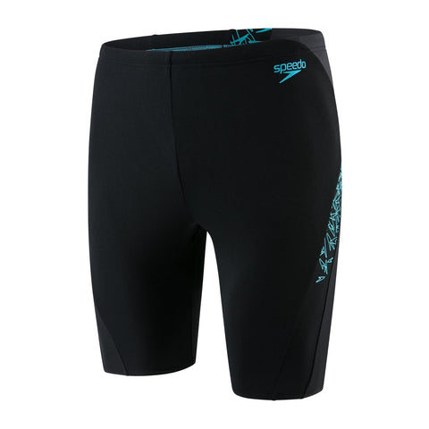 Speedo Boom Splice Jammer Mens Boom Black/Aqua Splash/Oxid Gry - clickswim.co.nz