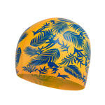 Speedo Slogan Cap Junior Mango/Beautiful Blue - clickswim.co.nz