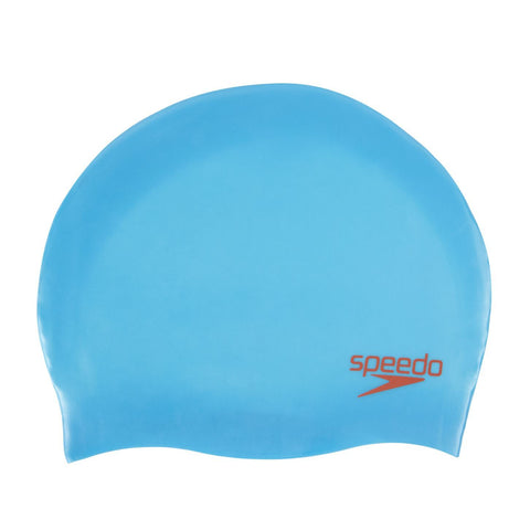 Speedo Junior Plain Moulded Silicone Cap Blue/Red - clickswim.co.nz