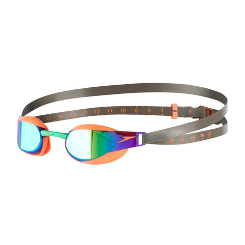 Speedo Adult Unisex Goggles Fastskin Elite Mirror Orange/Green - clickswim.co.nz