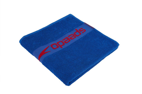 Speedo Border Towel Neon Blue / Lava Red - clickswim.co.nz