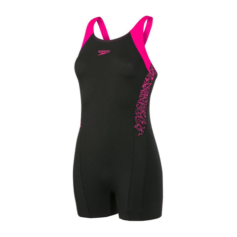 Speedo Womens Endurance + Boom Splice Legsuit Black / Electric Pink - clickswim.co.nz
