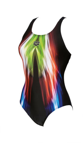 Arena Original Touch Womens Swimsuit Shining One Piece V Back Black/Soft Green - clickswim.co.nz