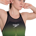 Speedo Fastskin Lzr Pure Valor Openback Kneeskin Womens Black/Fluo Yellow/Jade