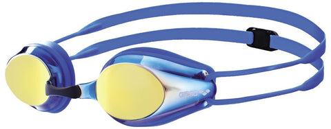 Arena Junior Racing Goggles Tracks Mirror Blueyellowrevo/Blue/Blue - clickswim.co.nz
