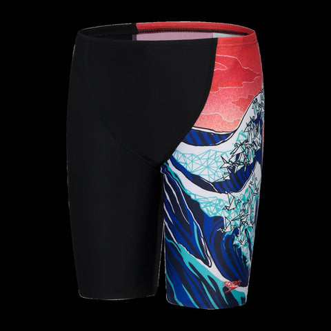Speedo Panel Leg Jammer Boys Origmi Wave Black/Navy/Lava Red/White - clickswim.co.nz