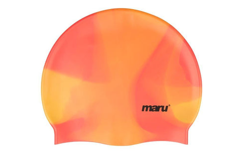 Maru Multi Colour Silicone Hat Orange Shades - clickswim.co.nz
