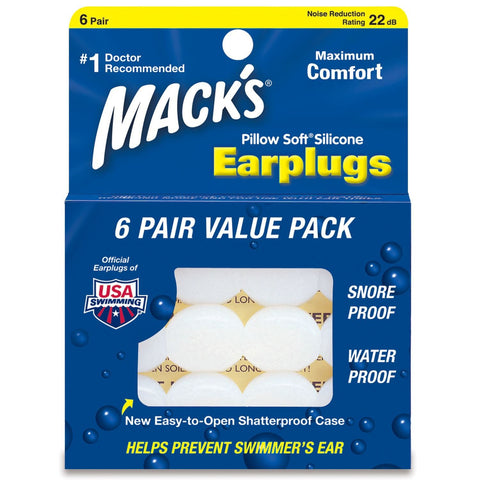 Macks Moldable Silicone Earplugs Pillow Soft Value Pack 6 pair - clickswim.co.nz