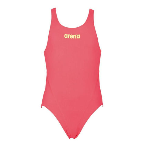 Arena True Sport Girls Solid Tech Swimsuit Fluo Red/Soft Green - Clickswim.com