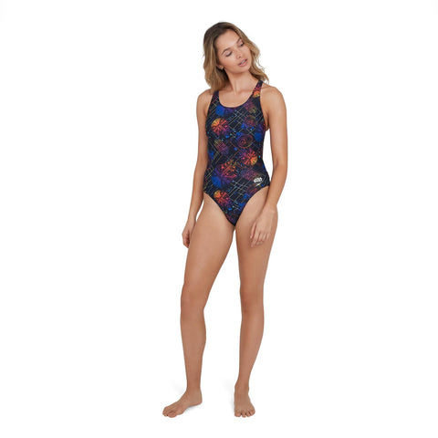 Speedo Digital Leaderback Girls Star Wars Galaxy Black/Chill Blue - clickswim.co.nz