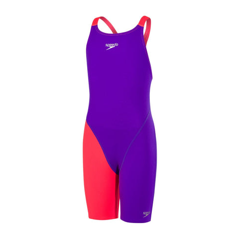 Speedo Girls Endurance + Fastskin Endurance+ Openback Kneeskin Royal Purple/Psycho Red - clickswim.co.nz