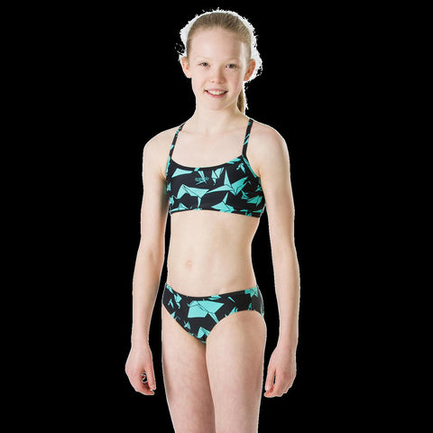 Speedo 2 Piece Girls Akiracrane Black/Aqua Splash - clickswim.co.nz