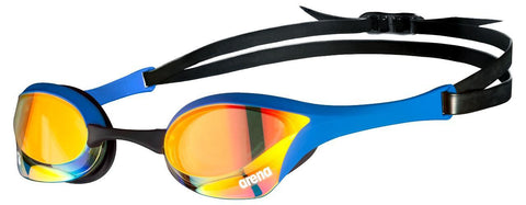 Arena Cobra Ultra Swipe Mirror Goggles Yellow Copper Blue - clickswim.co.nz