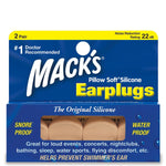 Macks Moldable Silicone Earplugs Pillow Soft Beige 2-pair Box - clickswim.co.nz
